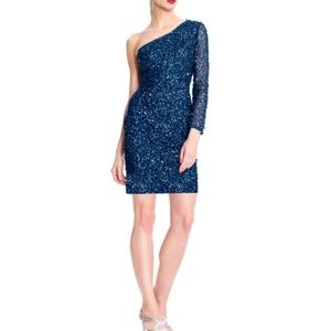 NWT ADRIANNA PAPELL SEQUIN ONE SHOULDER DRESS